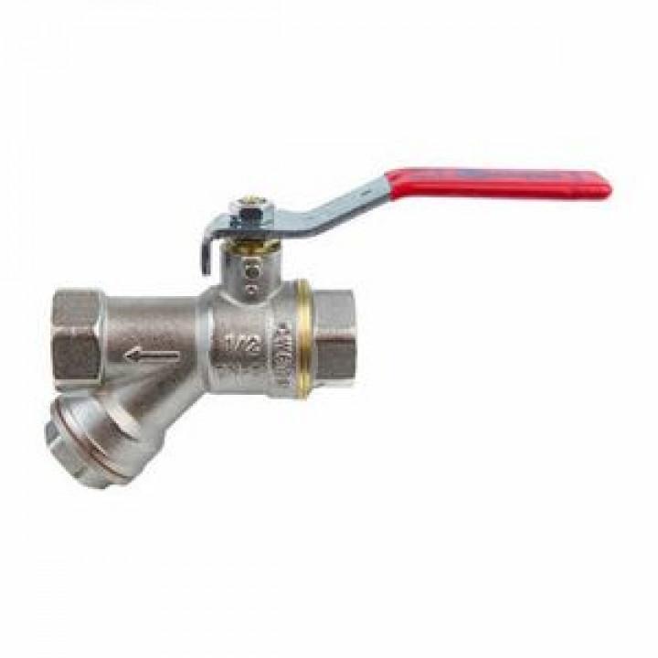 Кран шаровой латунь никель 1014 Ду 15 Ру40 ВР полнопроходной рычаг с фильтром Aquasfera1014-01