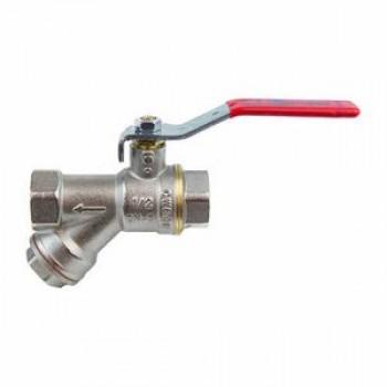 Кран шаровой латунь никель 1014 Ду 20 Ру30 ВР полнопроходной рычаг с фильтром Aquasfera1014-02