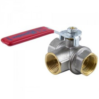 Кран шаровой латунь никель 3-ход 1020 Ду 15 Ру40 ВР полнопроходной рычаг Aquasfera1020-01