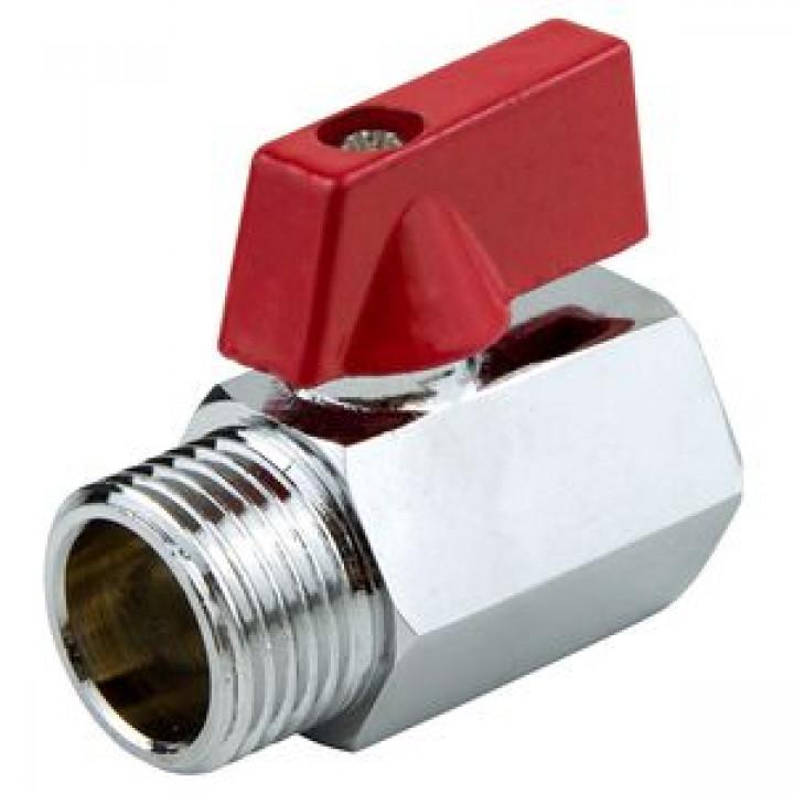 Кран шаровой латунь хром мини 1032 Ду 15 Ру10 ВР/НР полнопроходной флажок Aquasfera1032-01
