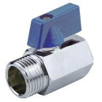 Кран шаровой латунь хром мини 1033 Ду 15 Ру10 ВР/НР полнопроходной флажок Aquasfera1033-01