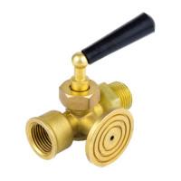 Кран для манометра 3х-ходовой латунь 1064 Ду 15 Ру16 ВР G1/2-М20х1,5 с рукояткой с фланцем Aquasfera1064-01