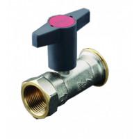 Кран шаровой, Optibal P, для обвязки насоса, DN-32, 1 1/4, 2, ВНГ, PN, бар-10, никелированный, с обратным клапаном, устанавливается перед насосом 1078172