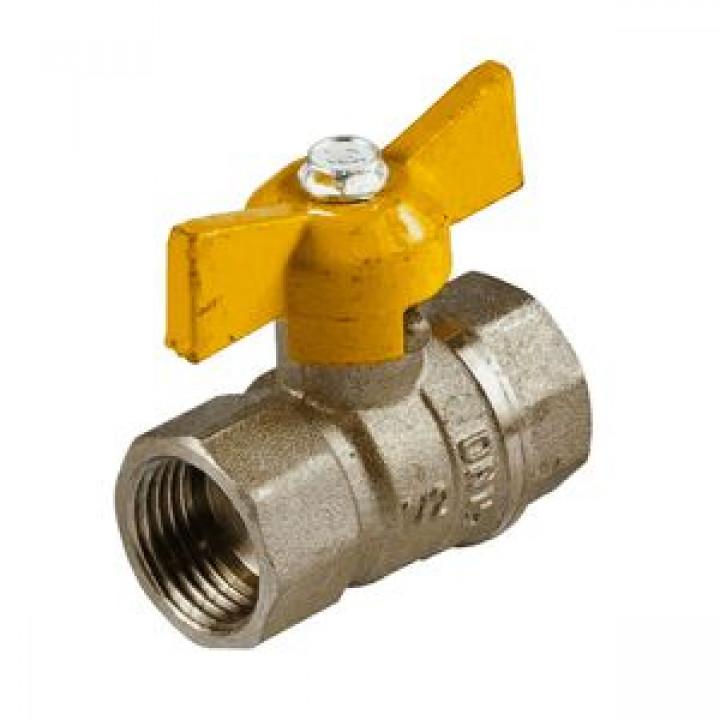 Кран шаровой латунь газ Стандарт 230 аналог 11б27п Ду 15 Ру16 ВР полнопроходной бабочка ГАЛЛОП116012