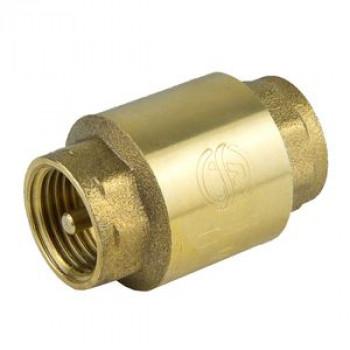 Клапан обратный латунь осевой 3002 Ду 40 Ру25 Тмакс=100 оС ВР G1 1/2 диск латунь шток латунь Aquasfera3002-05