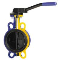 Затвор дисковый поворотный чугун 497B Ду 100 Ру16 межфл с рукояткой диск нерж манжета EPDM Zetkama497B100C68