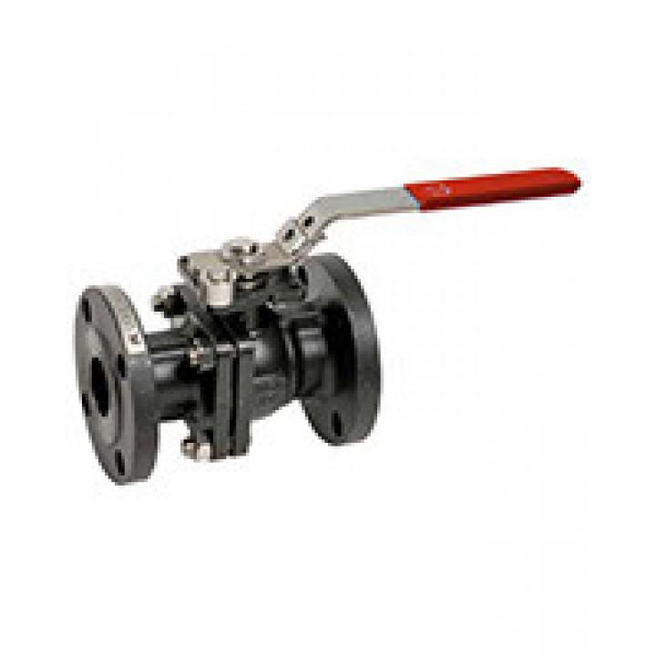 Кран шаровой полнопроходной фланцевый, DN32, PN16, ручка, корпус углеродистая сталь BS5261-0032
