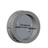 Клапан обратный двухстворчатый, межфланцевый, PN16, DN350, нержавеющая сталь CB6442-0350