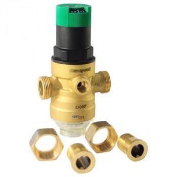 Регулятор давления мембранный латунь D06F х/в Ду 15 Ру25 G1/2 НР/американка Рн=1,5 - 6бар с вых. под маном. и шкал. рег. HoneywellD06F-1/2 A
