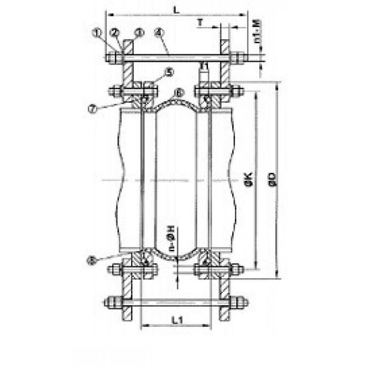Компенсатор резиновый фланцевый, PN25, DN200 DI7251N-0200