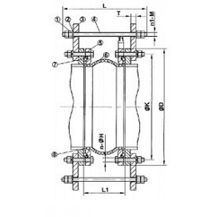 Компенсатор резиновый фланцевый, PN25, DN250 DI7251N-0250