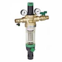 Фильтр сетчатый T-образный латунь Ду 15 Ру25 Тмакс=70 oC G1/2 НР HS10S с регулятором давления и обратной промывкой HoneywellHS10S-1/2AAM