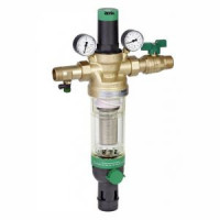 Фильтр сетчатый T-образный латунь Ду 15 Ру25 Тмакс=70 oC G1/2 НР HS10S с регулятором давления и обратной промывкой HoneywellHS10S-1/2''ADM