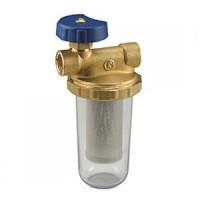 Фильтр сетчатый T-образный латунь Ду 10 Ру16 G3/8 ВР N2 дренажн с запорным клапаном GiacominiN2Y001