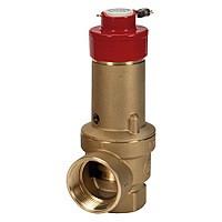 Клапан предохранительный пружинный латунь R140D Ду25х32 ВР/ВР G1хG1 1/4 Рср=6бар с пломбировкой 110С GiacominiR140DY155