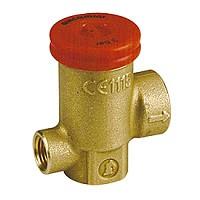 Клапан предохранительный пружинный латунь R140TY Ду15х15 ВР/ВР G1/2хG1/2 Рср=2.5бар с выходом под манометр G1/4 ВР 110С GiacominiR140TY102