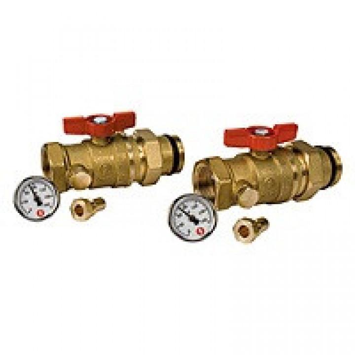 "Комплект кранов Ду 25 Ру35 G1 2 шаровых крана 1""х1"", с отводом и 2 термометра R540Y015 GiacominiR259SY067"