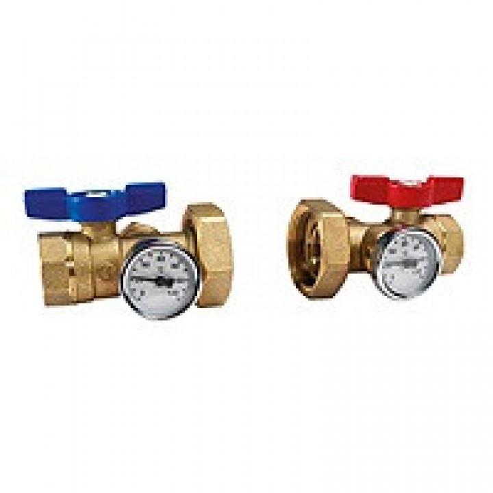 Комплект шаровых кранов латунь R287M Ду 25х40 Ру35 ВР/американка бабочка c термометром GiacominiR287MY005