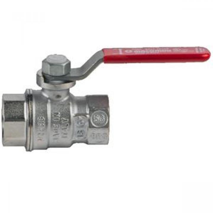 Кран шаровой латунь хром R850 Ду 40 Ру28 ВР полнопроходной рычаг GiacominiR850X027
