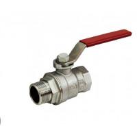 Кран шаровой полнопроходной, резьба внутренняя/наружная 1/2, хромированный, ручка - рычаг красный R854LX023