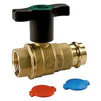 Кран шаровой полнопрох., внутреннее пресс соединение 1/2F x TR18, пластиковая ручка R854VY102