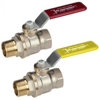Кран шаровой латунь никель газ R914L Ду 25 Ру12 ВР/НР полнопроходной рычаг GiacominiR914LX005