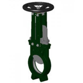 Задвижка шиберная односторонняя чугун VG3400-001NI Ду 100 Ру10 межфл со штурвалом уплотнение: нитрил TecofiVG3400-001NI0100