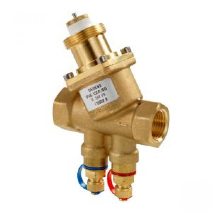 Комбинированный балансировочный клапан ВР-ВР VPI46..Q с ниппелями измерения давления, Siemens VPI46.15L0.6Q