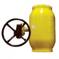 Шаровой стальной кран для газа сварка/сварка, c редуктором, Broen Ballomax, Ду150, 25/12 бар КШГ 71.102.150R